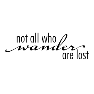 Not all who wander are lost - J.R.R. Tolkein