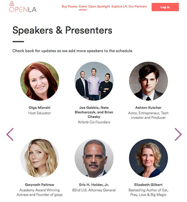 graphic of keynote business speakers for OpenLA event on the AirBnb Open Gig Economy featuring Olga Mizrahi business Speaker