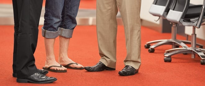 TORONTO, ON - JULY 10h, 2012 - For story on wearing flip flops at work.