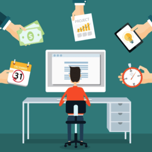 illustration of freelancer at computer surrounded by hands offering money and work