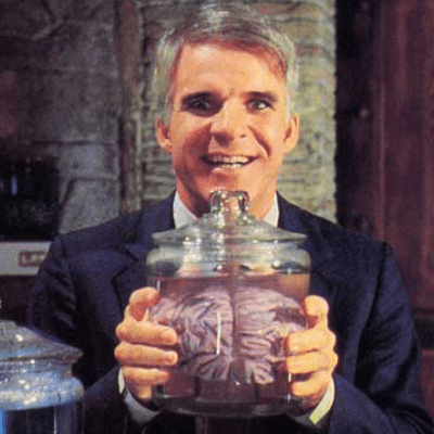 AI: Humans 2.0: Steve Martin, Brain in jar
