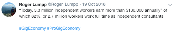 tweet from Roger Lumpp about gig workers earning $100K+