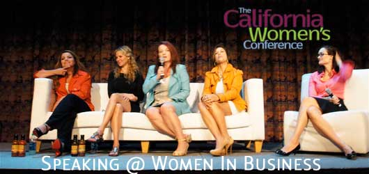 photo of 5 corporate keynote speakers on couch at the california women's conference